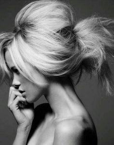 Beautiful teased hair.