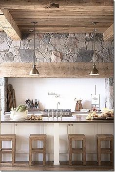 Cool rustic, but contemporary, kitchen.