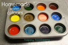 - happy hooligans homemade watercolors Great for kids or if you like to use a lot of watercolor. Preschool Art, Craft Activities For Kids, Projects For Kids, Diy For Kids, Crafts For Kids, Indoor Activities, Summer Activities, Family Activities, Home Made Paint For Kids