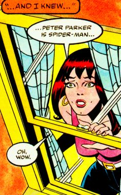 """Mary Jane Watson (from Spider-Man:ParallelLives - 1989) by AlexSaviuk & Andy Mushynsky - """"Peter Parker is Spider-Man..."""""""