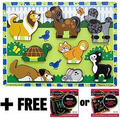 Pets Themed Chunky Puzzle   FREE Melissa and Doug Scratch Art Mini-Pad Bundle [37242] * Check this awesome product by going to the link at the image.