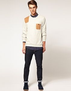 ASOS Sweatshirt With Contrast Shooting Patch And Pocket