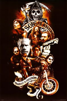 Sons of Anarchy Poster Tattoo Style Serie Sons Of Anarchy, Sons Of Anarchy Samcro, Sons Of Anarchy Tattoos, Sons Of Arnachy, Outlaws Motorcycle Club, Sons Of Anarchy Motorcycles, Star Wars, Jax Teller, Sons Of Anarchy