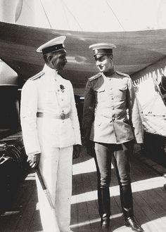 Grand Duke Dmitri Pavlovich of Russia with the commander of the Imperial Yacht Standart, Nikolai Sablin.