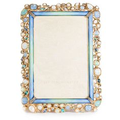 Jay Strongwater Emery Bejeweled Frame ($950) ❤ liked on Polyvore featuring home, home decor, frames, blue, jay strongwater, blue picture frames, handmade picture frames, antique home decor and antique picture frames