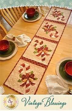 """Vintage Blessings Table Runner - December Pattern: Full Set of 12 patterns available here - buy all 12 and save 10%! Decorate your home all year long with a beautiful Vintage Blessings Table Runner by Jennifer Bosworth of Shabby Fabrics. This pattern is for the December design. Table Runner measures approximately 12 1/2"""" x 53""""."""