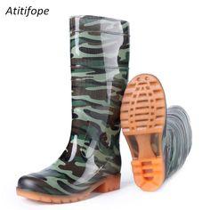 f335e5345525 Men rain boots Knee-high rain boots rubber Rain Boots men hunt Shoes  Rainboots PVC hiking shoes water Non-slip rain boots