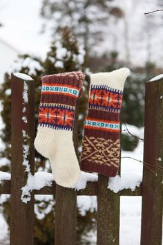 Knee high knitted socks with african ornaments for by RGideas, $66.00