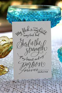 Psalm 73:26  Hand-Lettered Scripture Print  Bella door Paperglaze
