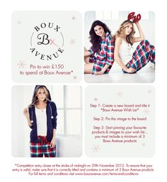 Create your Christmas 'Boux Avenue Wish List' for your chance to #win £150 to spend at Boux Avenue...