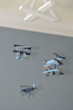 Airplane Nursery Mobile Bi-Plane Custom Wooden Biplanes Planes Flight Theme Baby Decor Aviation Transportation Vintage Baby Shower Gift