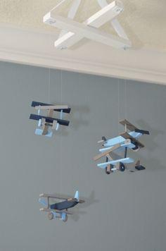 Airplane Nursery Mobile Bi-Plane Custom Wooden Biplanes Planes Flight Theme Baby Decor Aviation Transportation Vintage Baby Shower Gift