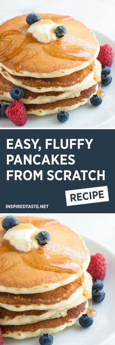 Easy Fluffy Pancakes from Scratch - Easy Fluffy Pancakes Recipe from Scratch . - Easy Fluffy Pancakes from Scratch – Easy Fluffy Pancakes Recipe from Scratch – How to make flu - Pancakes From Scratch, How To Make Pancakes, Pancakes Easy, Pancakes And Waffles, Homemade Pancakes, Dinner Pancakes, Vegan Pancakes, Recipe For Pancakes, Ingredients To Make Pancakes