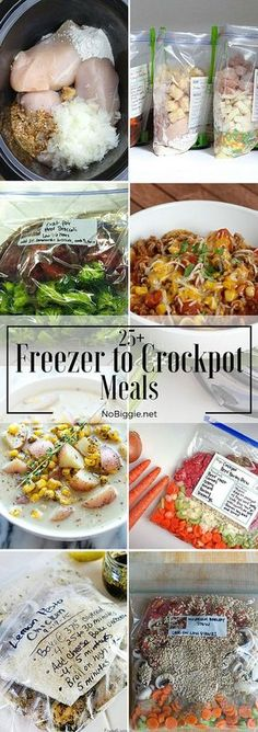25 Freezer to Crockpot Meals Slow cooker recipes Slow Cooker Freezer Meals, Make Ahead Freezer Meals, Crock Pot Freezer, Freezer Cooking, Crock Pot Cooking, Slow Cooker Recipes, Cooking Recipes, Bulk Cooking, Cooking Tips