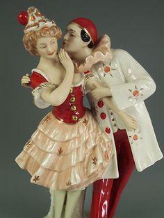 Antique Large Art Deco Royal Dux Czechoslovakia Pierrot Pierrette Figurine | eBay