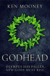 """Godhead designed by Designforwriters.com. """"For this contemporary fantasy involving the Greek gods, I had very clear ideas what I wanted; something magnificent but also dark; something that had a serious adult tone while still as striking and eye-catching as the genre needs to be.""""  JF: Beautiful and effective, with nice typography that's appropriate to the design, textures, drama, the lot. Well done. ★"""