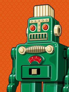 Pop Art Art - Smoking Robot by Ron Magnes Pop Art Vintage, Vintage Robots, Retro Robot, Vintage Design, Vintage Green, Vintage Toys, Vintage Posters, Robot Illustration, Illustrations