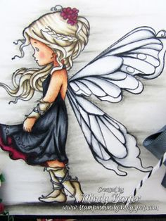 Wild Orchid Crafts: A Fairy dark card . Fairy Pictures, Whimsy Stamps, Angel Art, Fairy Art, Whimsical Art, Stone Painting, Rock Art, Cute Drawings, Painted Rocks