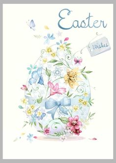 Watercolor Easter egg with flowers and lettering. Happy Easter Greetings, Easter Wishes, Easter Greeting Cards, Fete Pascal, Ostern Wallpaper, Easter Illustration, Easter Pictures, Easter Printables, Hoppy Easter