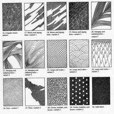 Различные виды штриховки для графики