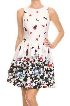 Butterfly Sleeveless Dress www.DressBoutique.com #butterfly #dress #springdress #summerdress #womensfashion #style #shopping