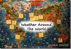 Tracking weather around the world is a great STEM activity for kids that also builds global awareness. Students learn that weather is different in different parts of the world. Geography For Kids, Teaching Geography, World Geography, Teaching Science, Weather Activities, Science Activities, Activities For Kids, Weather Science, Travel Activities