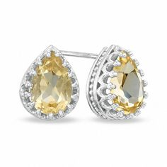 She'll feel like a princess when she wears these charming earrings from the Crown Collection. Designed for the November birthday girl, these earrings are fashioned in sleek sterling silver and showcase stunning 9.0 x 6.0mm pear-shaped golden citrines in detailed crown-shaped settings. Buffed to a brilliant luster, these post earrings secure comfortably with friction backs.