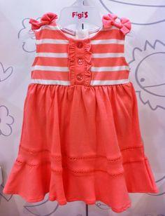 Vestido de verano en naranja para niñas ...a la vanguardia de la moda infantil...en cien por ciento algodón Pima | Figi's