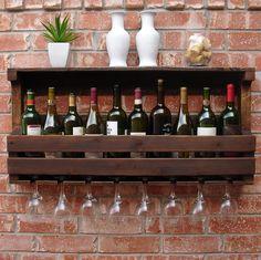 Rustic 10 Butelka wina do montażu na ścianie Rack w / 8 Slot przez KeoDecor szkła