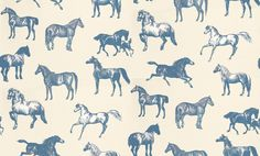 Collette (760-56) - Sandberg Wallpapers - A stunning horse motif design – with different breeds of horse drawn in a naturalistic etching style. Available in 4 colourways – shown in the delft blue on warm cream background. Please ask for a sample for true colour match.