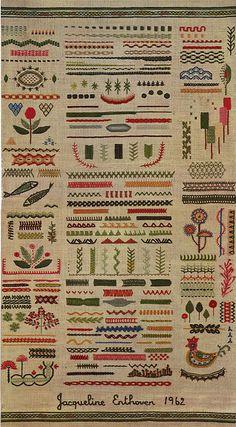 w domu bylo cos podobnoego, tylko znacznie prostszego, zrobione przez mame w szkole :D Jackqueline Enthoven 1962 Stitches of Creative Embroidery - One of the best books on embroidery I've ever read Embroidery sampler by Jacqueline Enthoven, Jackqueline En Embroidery Designs, Embroidery Stitches Tutorial, Embroidery Sampler, Creative Embroidery, Silk Ribbon Embroidery, Diy Embroidery, Embroidery Techniques, Cross Stitch Embroidery, Embroidery Fashion