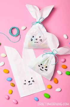 Easter Bunny Paper Treat Bags- easter craft for ki. Easter Bunny Paper Treat Bags- easter craft for kids to make. Art project to make this easter. Put jelly beans or cadbury eggs in them. Easter Activities For Kids, Bunny Crafts, Crafts For Kids To Make, Easter Crafts For Kids, Craft Activities, Diy And Crafts, Paper Crafts, Kids Diy, Summer Crafts