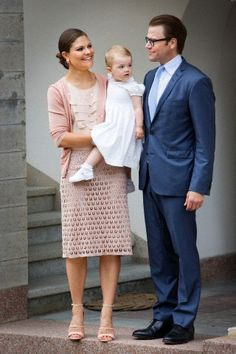 Crown princess Victoria, Prince Daniel and Princess Estelle celebrate the 36th birthday of Crown princess Victoria at the Swedish Royal Family's summer residence Solliden, on the Island Oland, Sweden, 14 July 2013.