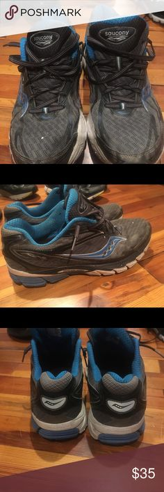 Saucony Power Grid Running shoes Grey and Blue with black accents. Only worn to run on the road. Still have a lot of life. Saucony Shoes Athletic Shoes