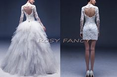 Inspired Lace Long Sleeves Multi-way Wedding Dress, Short Mini Sheath Dress And Ruffle Ball Gown on Etsy, $580.00