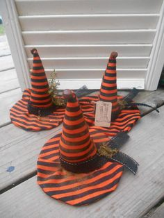 Set of 3 Primitive Grungy Witch Hat Ornies Shelf Table Sitter Halloween Handmade #NaivePrimitive