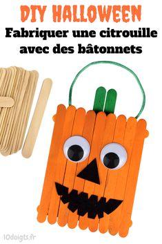 Pour Halloween, fabriquez une petite citrouille rigolote avec des bâtonnets de glace en bois. Une activité facile et amusante, les enfants vont adoré !
