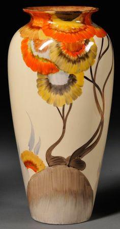 Clarice Cliff Pottery Bizarre Ware Vase, Rhodante Patter, England, 1925-1964, baluster shape
