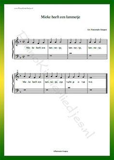 Mieke heeft een lammetje - Gratis bladmuziek van kinderliedjes in eenvoudige zetting voor piano. Piano leren spelen met bekende liedjes.