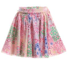 Sonia Rykiel Enfant Pink Floral Raw Hem Skirt at Childrensalon.com