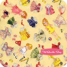 Timeless Treasures Yellow 50's Cutout Dolls Yardage SKU# 1-Yellow