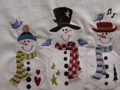 Cardinal Friend SET OF 2 HAND TOWELS EMBROIDERED Cozy Country Snowman