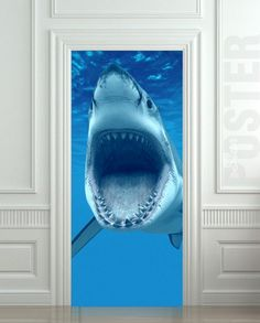 "GIANT Door Wall STICKER shark water ocean sea decole film poster 31x79""(80x200 cm) | pulaton - Print on ArtFire"