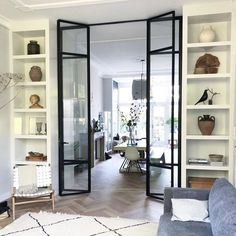 Interior french doors add a beautiful style and elegance to any room in your home. Sliding Door Room Dividers, Room Divider Doors, Room Doors, Living Room Sliding Doors, Living Room Divider, Internal Bifold Doors White, Internal Doors With Glass, Internal French Doors, Casa Loft