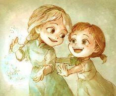 Ann and Elsa Anna Y Elsa, Frozen Elsa And Anna, Disney Frozen Elsa, Frozen Fan Art, Frozen And Tangled, Frozen Book, Frozen Drawings, Disney Drawings, Kawaii Disney