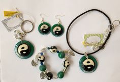 Ying Yang set of necklace, bracelet, earrings and keychain.