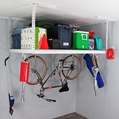 Shop MonsterRax 4' x 6' Overhead Garage Storage Rack - Overstock - 11098657 Garage Storage Bins, Garage Ceiling Storage, Diy Garage Shelves, Car Storage, Storage Shelves, Do It Yourself Organization, Home Organization, Overhead Storage Rack, Garage Makeover