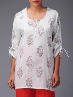 Ivory-Taupe Wrangler-Sleeve Cotton Tunic