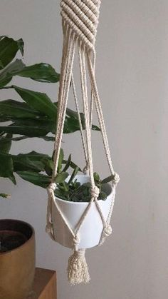 Macrame Plant Hanger Patterns, Macrame Patterns, Wall Plant Hanger, Plant Wall, Macreme Plant Hanger, Small Corner, Decorating Small Spaces, Mobiles, Flower Pots