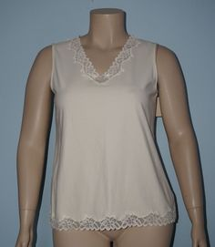 Coldwater Creek NWT XL 16 Ivory Lace Trim Sleeveless V-Neck Tank Top Shell Cami #ColdwaterCreek #TankCami #Casual